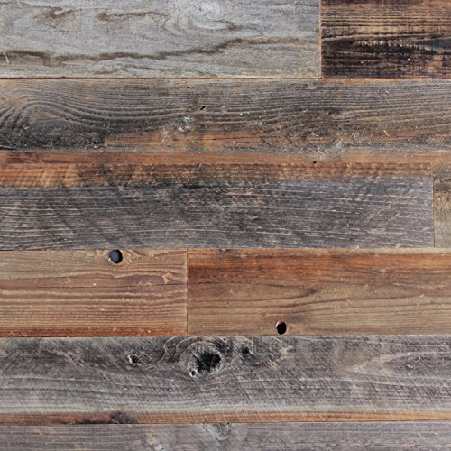 Epic Artifactory Reclaimed Barn Wood Wall Panel- Easy Peel and Stick Application (10 Sq Ft - 5