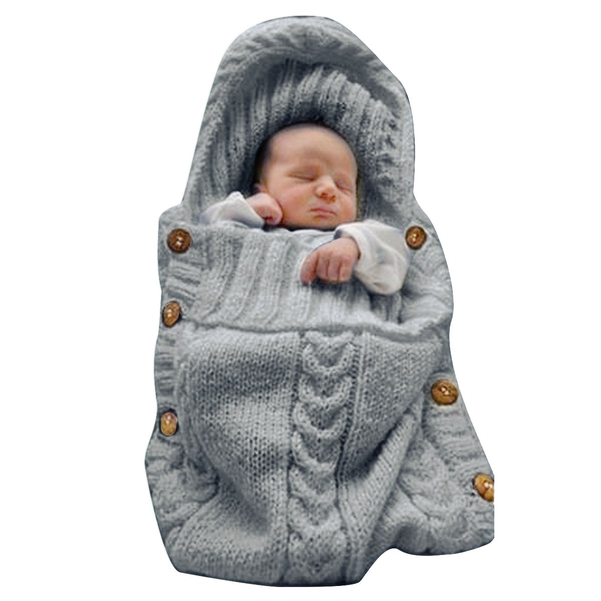 XMWEALTHY Newborn Baby Wrap Swaddle Blanket Knit Sleeping Bag Receiving Blankets Stroller Wrap for Baby(Dark Gray) (0-6 Month) by XMWEALTHY