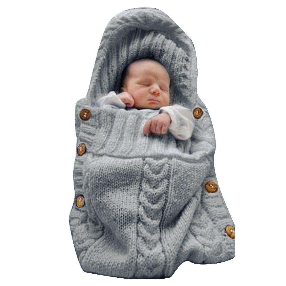 XMWEALTHY Newborn Baby Wrap Swaddle Blanket Knit Sleeping Bag Sleep Sack Stroller Wrap for Baby(Dark gray) (0-6 Month)
