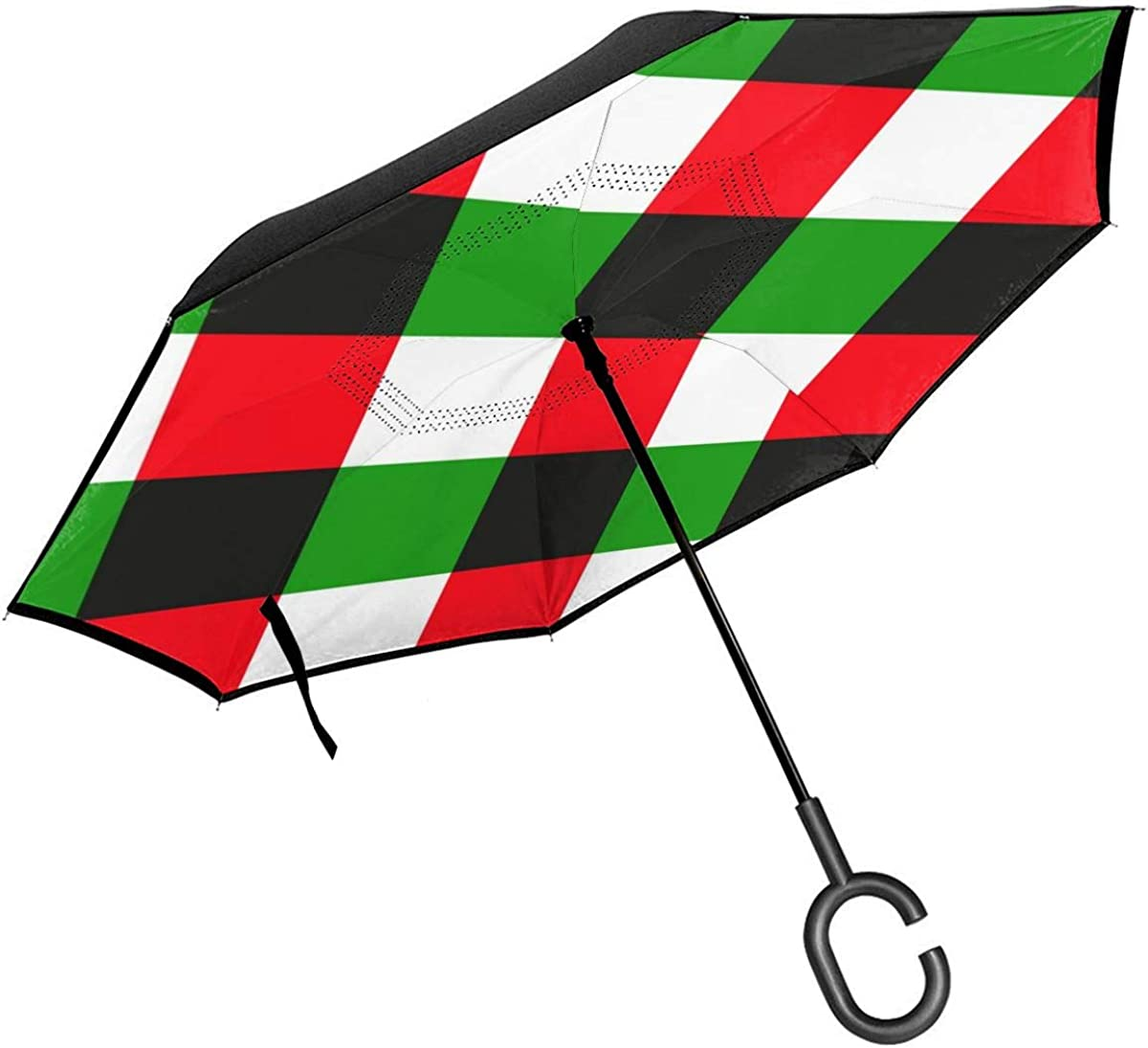 Reverse Umbrella Double Layer Inverted Umbrellas For Car Rain Outdoor With C-Shaped Handle British Traditional Lattice Background Map Personalized