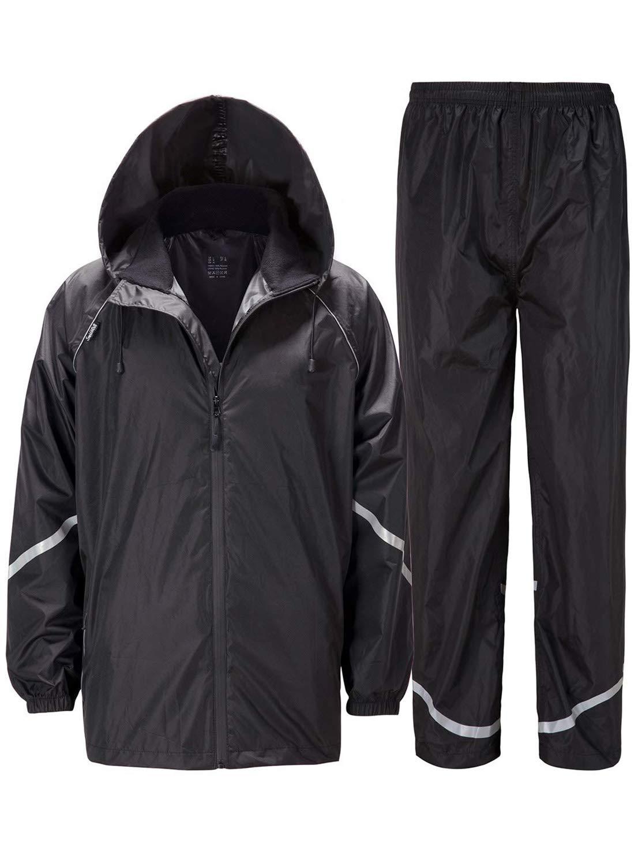 ZITY Rain Suits for Men Waterproof Hooded Rainwear, Lightweight Packable Raincoat for Outdoor, Camping, Fishing,Travel Black Stripe ,Medium by ZITY