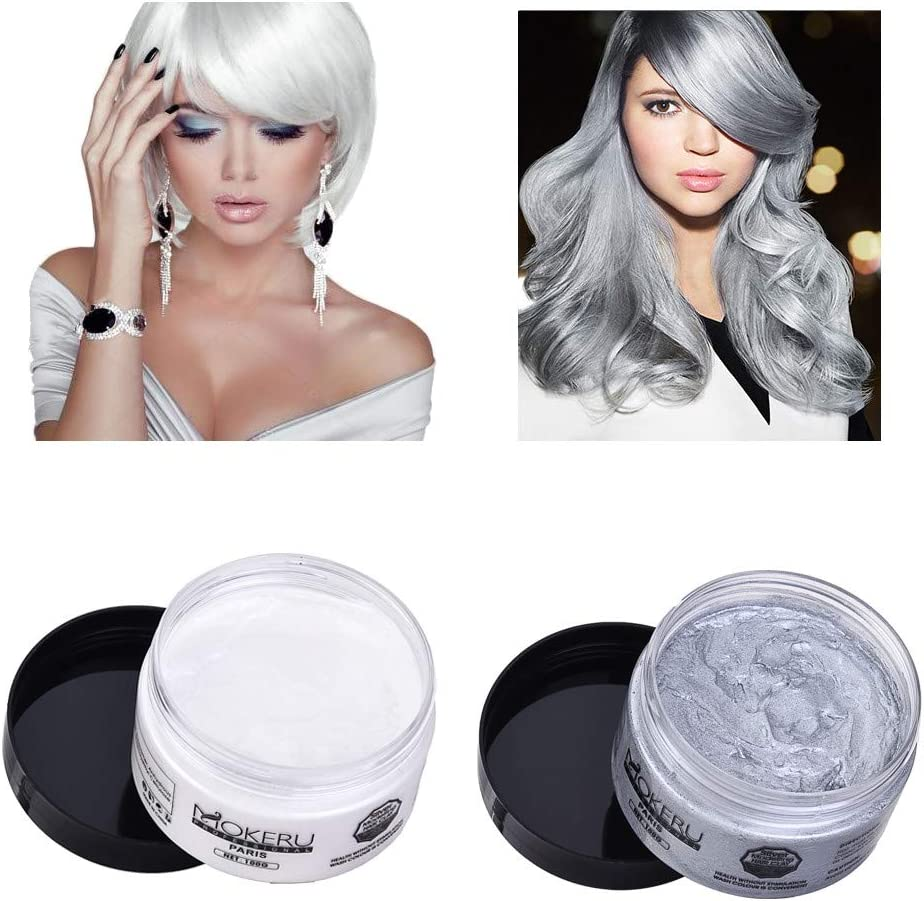(US STOCK) Kuerqi Unisex Hair Wax Color Washable Temporary Dye Styling Cream Mud For Cosplay,Party for everyday use, cosplay, festivals, parties, bucks and hens, activities, clubbing, Halloween