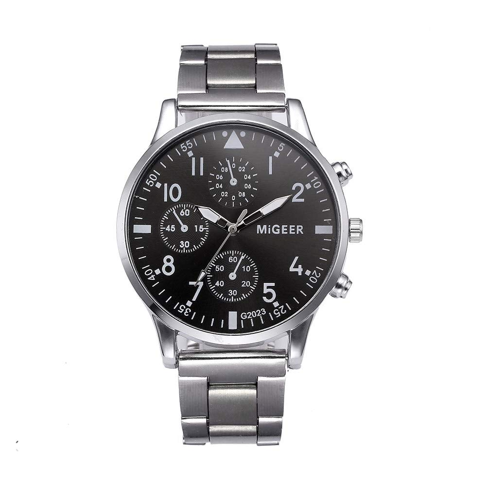 Watches for,Clearance Men's Crystal Quartz Analog Watch,Wugeshangmao Boy's Fashion Military Wrist Watch Business Casual Watches Gift,Round Dial Case Stainless Steel Band Watches