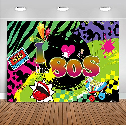 Mehofoto I Love 80s Backdrop Back to 80s Hip Pop Photography Background 7x5ft Vinyl Radio Graffiti Music 80th Themed Party Banner Decoration Backdrops -