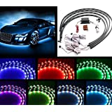 """Wecade® 7 Color 4pcs LED Under Auto Car Underglow System Neon Lights Kit Strip with Wireless Remote Control 2 X 24"""" & 2 X 36"""""""