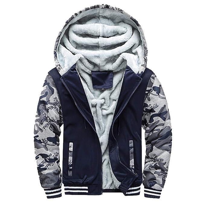FRAUIT Herren Winterjacke Männer Zipper Fleecejacke Hoodie Mode Sweatjacke Winter Herbst Verdickte Kapuzenjacke Freizeit Jacke Größe Mantel Warm