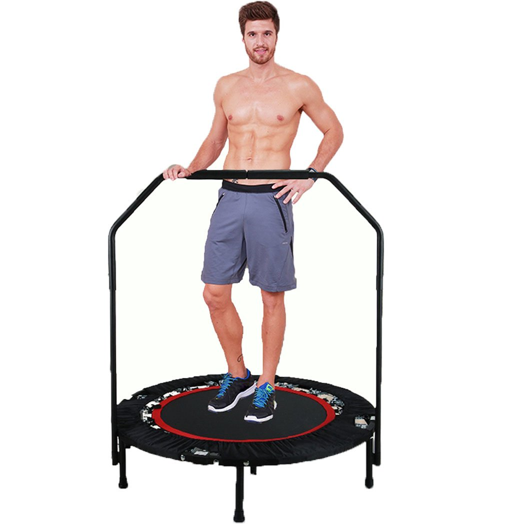 Ferty Foldable Mini Trampoline with Adjustable Handle Bar Fitness Rebounder Bungee-Rope-System Trainer for Kids or Adults Zero Stretch Jump Mat - Maximum Load 300lbs