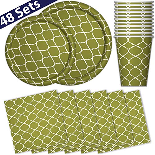 (Paper Dinnerware Set for 48 - Green Forest - Dinner Plates, Dessert Plates, Cups, Napkins - Heavy Duty Disposable Tableware Dishes for Parties with Lattice Design )