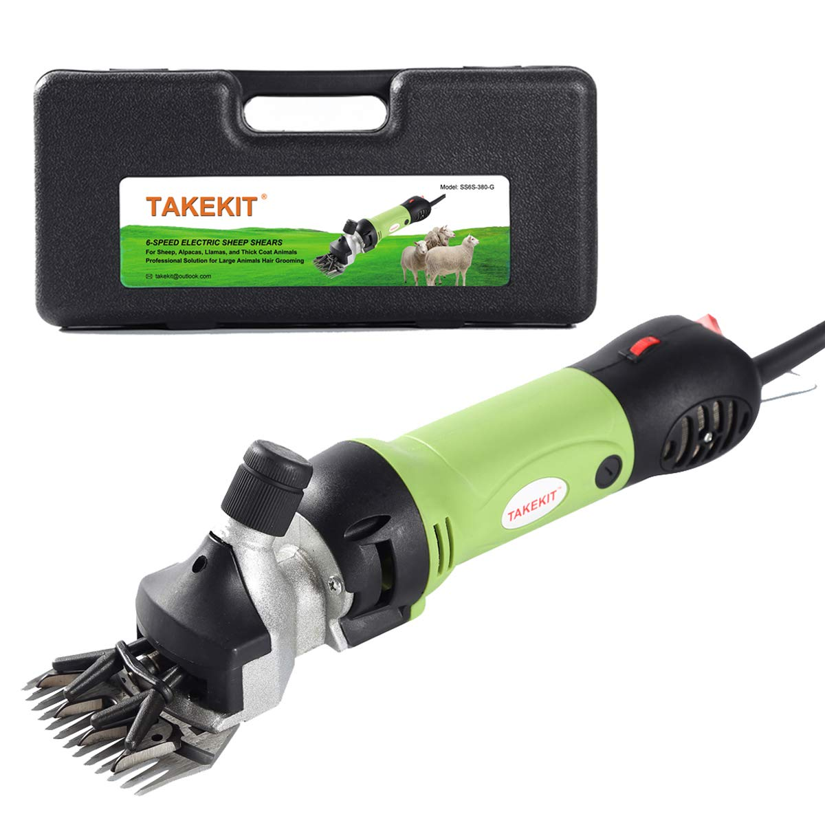 TAKEKIT Sheep Shears Professional Electric Animal Grooming Clippers for Sheep Alpacas Llamas and Large Thick Coat Animals, 6 Speeds Heavy Duty Farm Livestock Haircut Trimmer, 380W by TAKEKIT