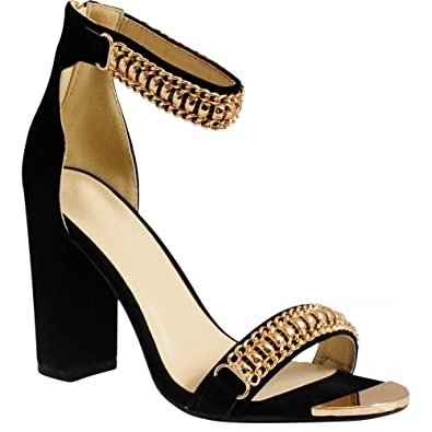 1e8ebe5056f Ladies Womens Black Faux Suede Gold Metal Ankle Cuff Strappy Sandals Peep  Toes High Heels Shoes