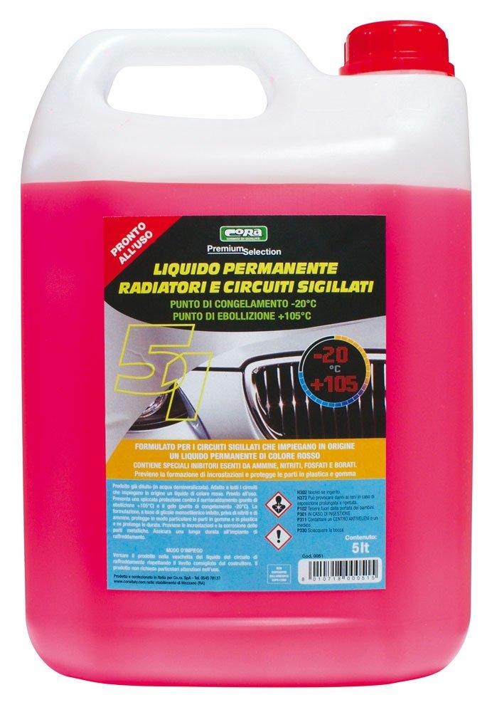 CORA 0051 líquido Permanente Radiador y circuitos sigillati-20 °C, Rojo, 5L: Amazon.es: Coche y moto