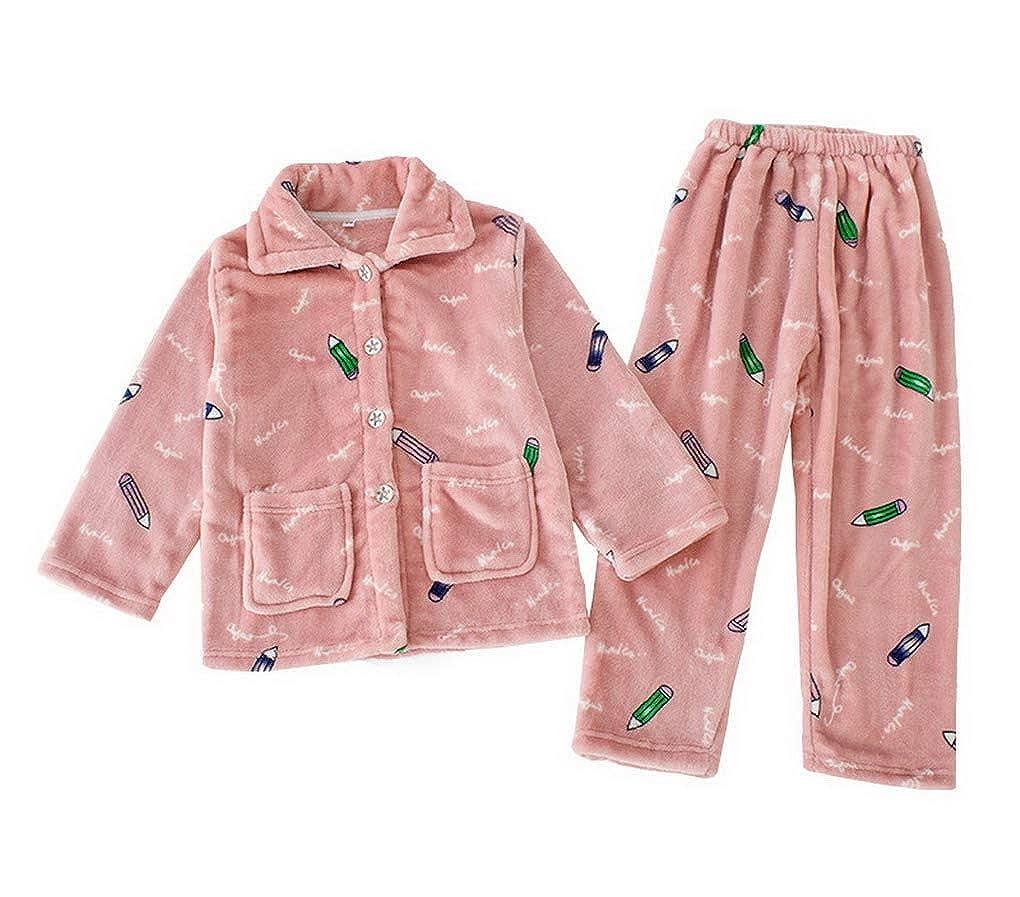 ACMEDE Invernale Bambina Pigiama a Due Pezzi in Flanella Pigiama a Maniche Lunghe per Ragazze e Ragazzi Pajama Set
