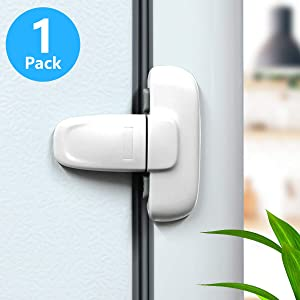 Home Refrigerator Fridge Freezer Door Lock, Latch Catch Toddler Kids Child Fridge Locks Baby Safety Child Lock, Easy to Install and Use 3M Adhesive no Tools Need or Drill(1 Pack, White)
