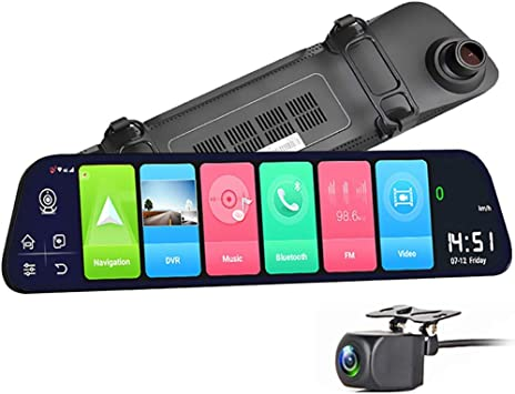 Dash Cameras 12 Smart Rearview Mirror Dash Cam 4g Wifi Gps Dashcams For Cars Front And Rear 1080p Hd Dash Cams Adas Live View Loop Recording Dashcam Reverse Camera Auto