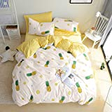 BuLuTu Pineapple 3 Pieces Kids Bedding Duvet Cover Sets Queen Cotton Cream/Off White For Boys Girls,Super Soft Bedding Collections Full,Love Gifts for Her,Him,Teens,Daughter,Child,Friend,No Comforter