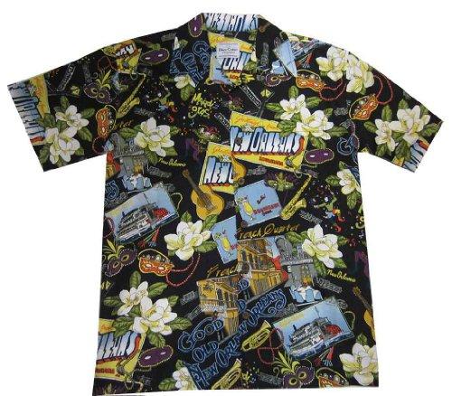 New Orleans Mardi Gras Hawaiian Style Camp Shirt, Black, (Mardi Gras Style Clothes)