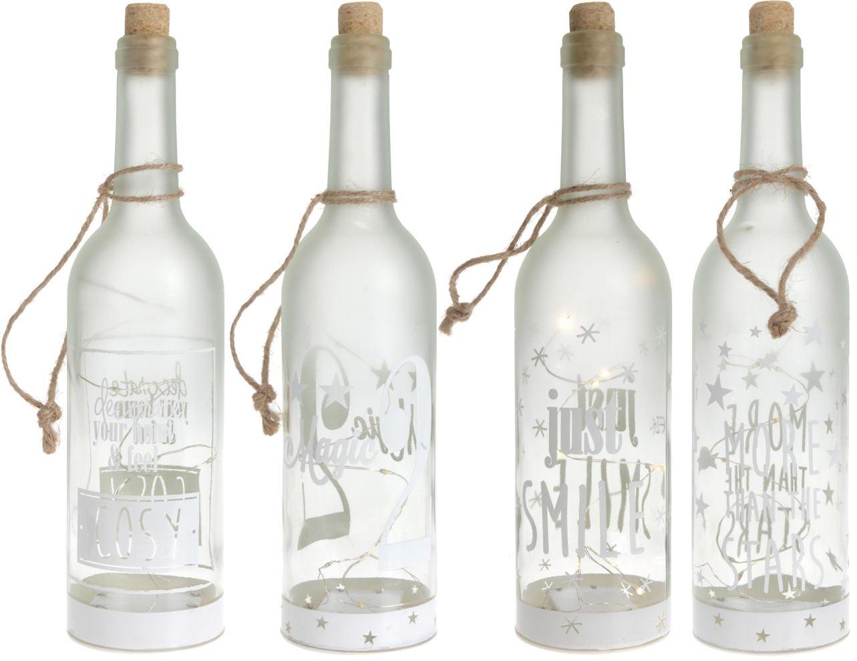 4x Glas Flasche mit Juteband /& 5 LED  Dekoflasche Dekoration sortiert Deko