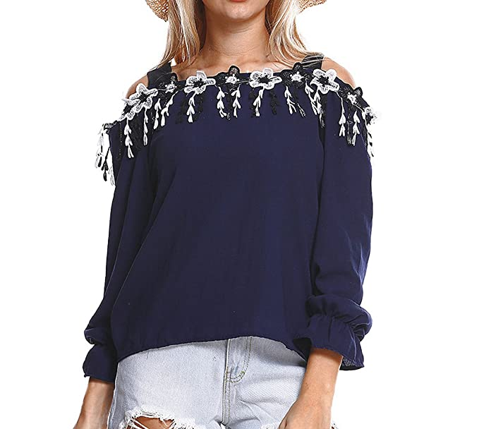 Mujeres Tirantes Blusa Suelto Bordado Costura Tees Camisas T-Shirt Moda Tops de Hombro Frío