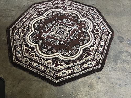 Traditional Octagon Persian Oriental Area Rug Brown Burgundy Black Beige Emirates Design 520 5 Feet 3 Inch X 5 Feet 3 Inch