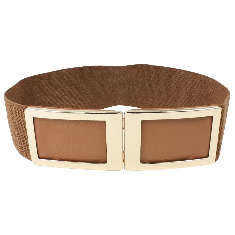 Ladies Rectangle Shaped Metal Interlocking Buckle Elastic Waist Belt