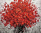 DIY Digital Canvas Oil Painting Gift for Adults Kids Paint by Number Kits Home Decorations- Red Flowers 16*20 inch