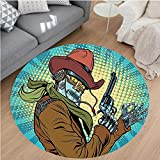 robot and bluebird - Nalahome Modern Flannel Microfiber Non-Slip Machine Washable Round Area Rug-Steampunk Western Style Robot Cowboy Makes OK Gesture Illustration Petrol Blue and Brown area rugs Home Decor-Round 67