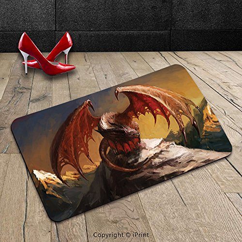 Custom Machine-washable Door Mat Dragon Decor Collection Malicious Dragon on Mountain Peaks Reflecting His Next Move Oriental Legendary Beast Decor Multi Indoor/Outdoor Doormat Mat Rug Carpet