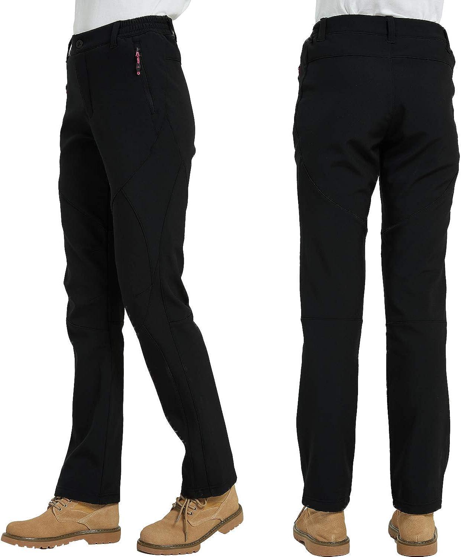 LUI SUI Women Windproof Hiking Trousers Outdoor Snow Ski Fishing Walking Fleece Lined Soft Shell Winter Quick Dry Pants
