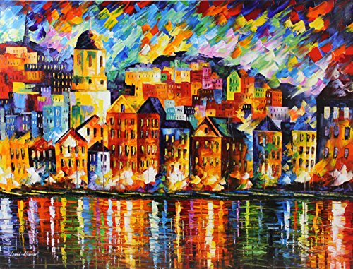 Old Original Art Painting - TOWN AT THE HARBOR is a One-of-a-Kind, ORIGINAL OIL PAINTING ON CANVAS by Leonid AFREMOV