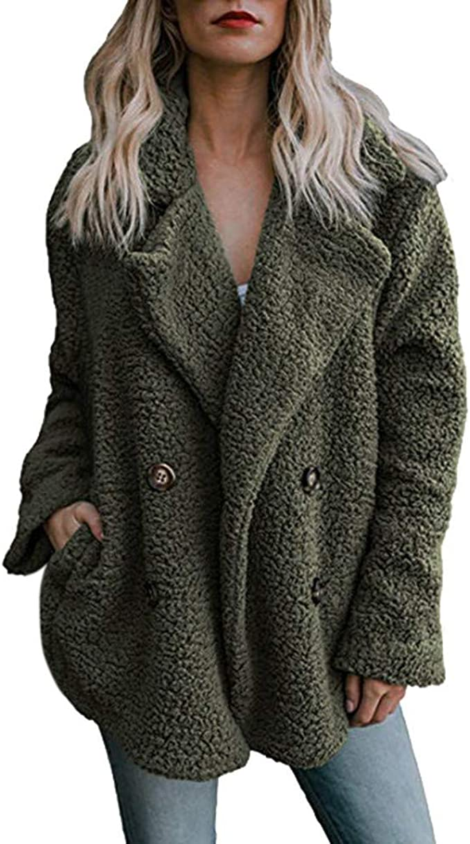 Womens Winter Warm Thick Fluffy Fleece Hoodies Coat Plus Size Loose Hooded Pullover Jacket Transer