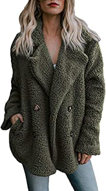 Mantel Kolylong Damen Elegant Einfarbig Wollmantel Kurz Herbst Winter Warm Wolljacke mit Reverskragen Verdickte Plüsch Parka Outwear Trenchcoat