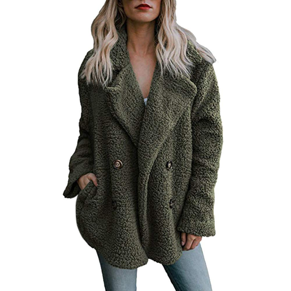 Lelili Clearance Women Warm Thick Coat Plus Size Plush Long Sleeve Lapel Button Up Parka Outwear Jacket Overcoat with Pockets (L, Army Green)