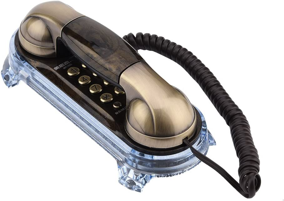 Teléfono antiguo Retro Vintage con cable montado en la pared antiguo teléfono de moda con retroiluminación azul