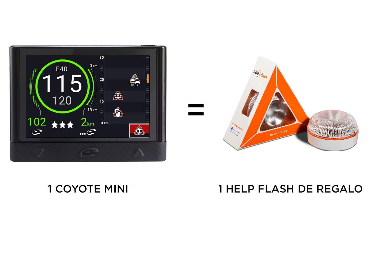 Coyote Mini El Asistente a la Conducci/ón Anticipa los peligros hasta 30 km Help Flash de Regalo por la Compra de tu Dispositivo Coyote hasta el 30 de Abril Alertas en Tiempo Real