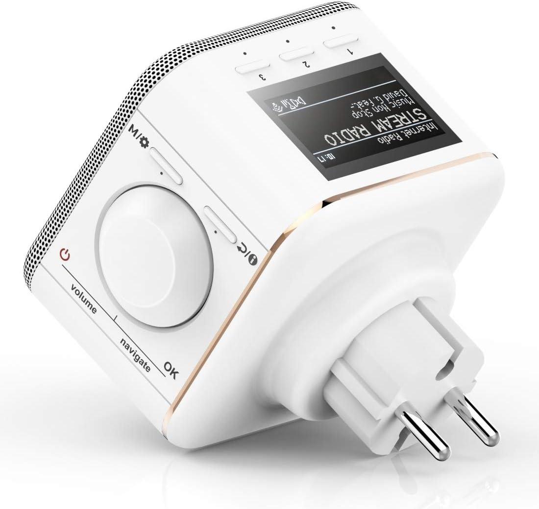 Hama Steckdosenradio Internetradio Klein Wlan Plug In Smart Radio Mit Bluetooth Aux Usb Spotify Multiroom Netzwerkstreaming Radio Wecker Beleuchtetes Display Geeignet Für Die Steckdose Weiß Baumarkt