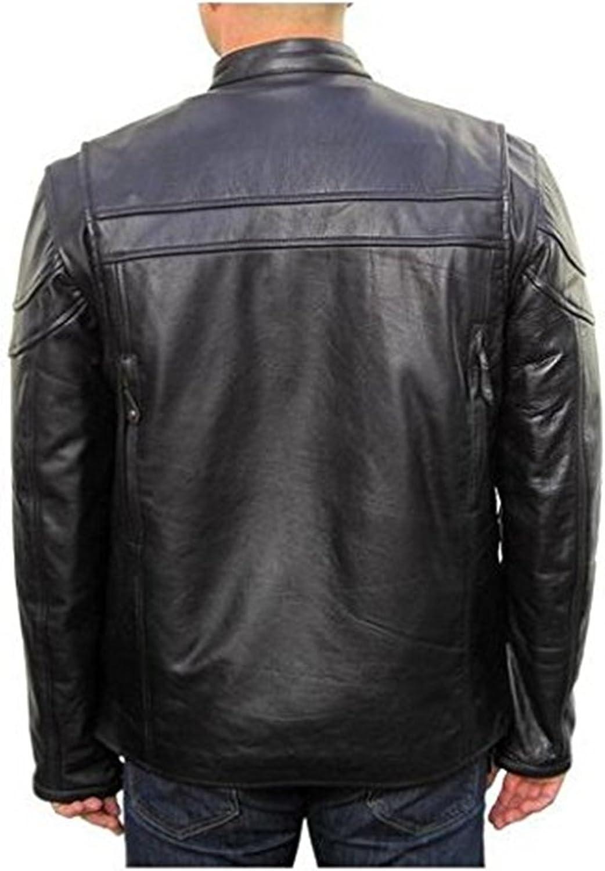 New Mens Leather Jacket Slim fit Biker Motorcycle Genuine Cow Jacket LTC855 XXXL Black