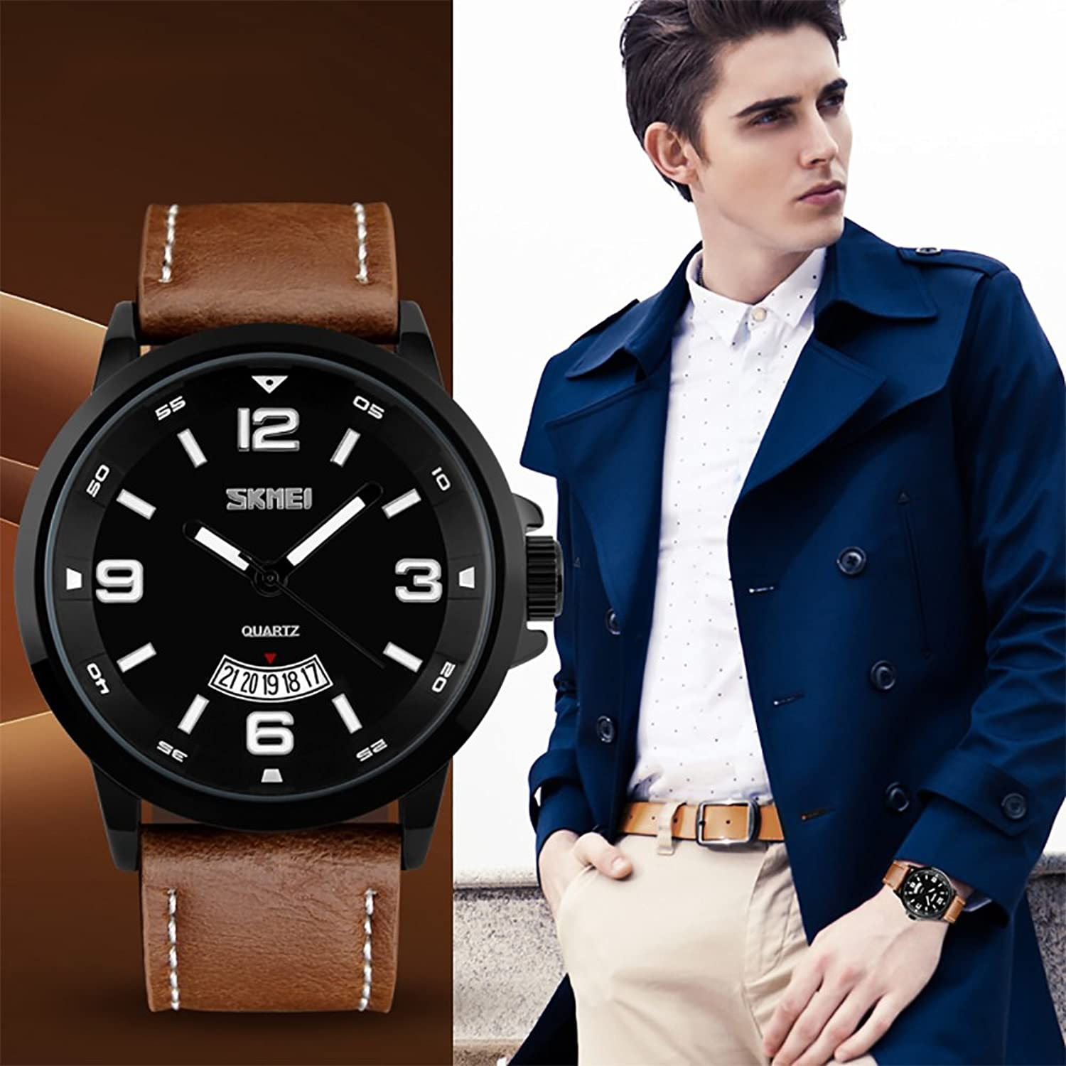analog black date business watch unique products quartz mens watches wrist band casual waterproof stainless window numeral calendar steel roman classic dress