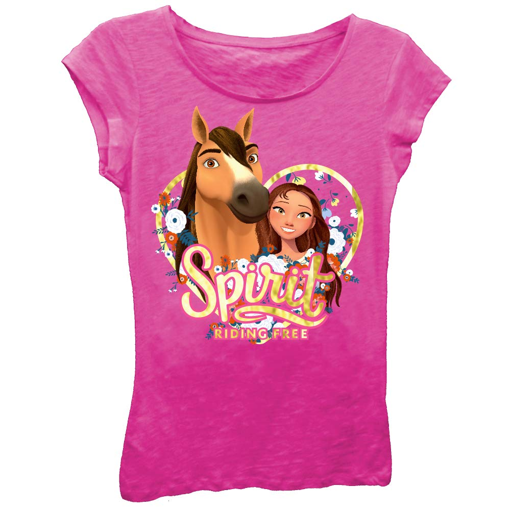 467e2a6d5 Amazon.com: Spirit Riding Free Girls T-Shirt - DreamWorks Girls Spirit  Short Sleeve T-Shirt: Clothing