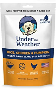 Under the Weather Pets   Rice, Chicken & Pumpkin   Easy to Digest Bland Dog Food Diet for Sick Dogs Sensitive Stomachs - Contains Electrolytes - Gluten Free, All Natural, Freeze Dried 100% Human Grade