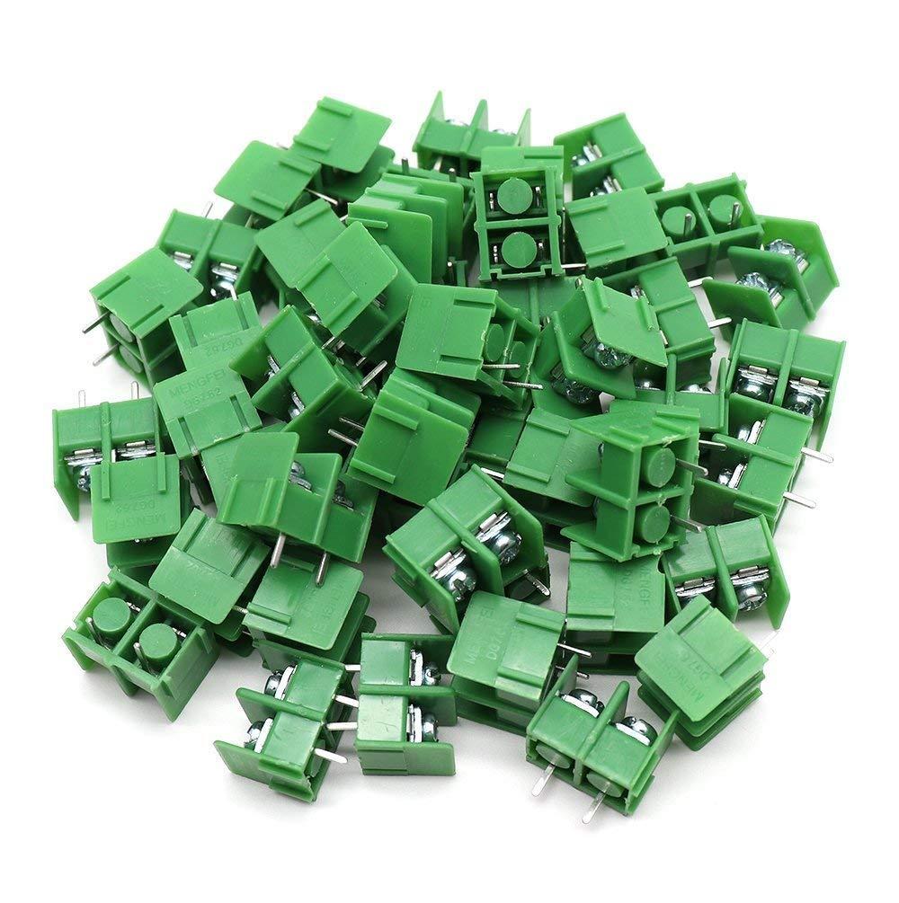 Yootop 50Pcs 5mm//0.2 Pitch 2Pin PCB Mount Screw Terminal Block Connector 300V 10A Green