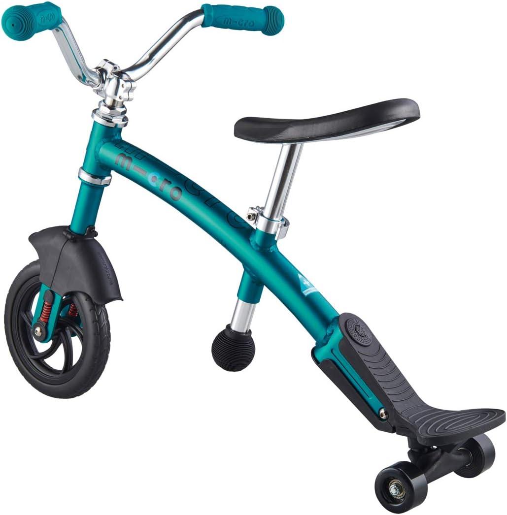 Micro 2In1 Chopper Balance Bike Aqua Adjustable Handlebar And Seat Stabilisers Included First Bike Boy Girl Nursery