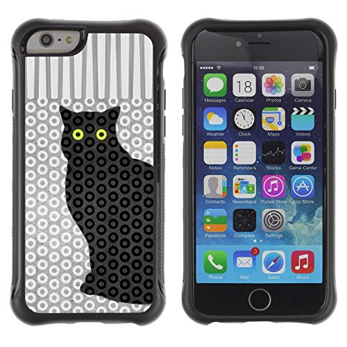 All-Round Hybrid Rubber Case Hard Cover Protective Accessory Compatible with Apple IPhone 6 (4.7'') - cat polka dot trippy pattern eyes