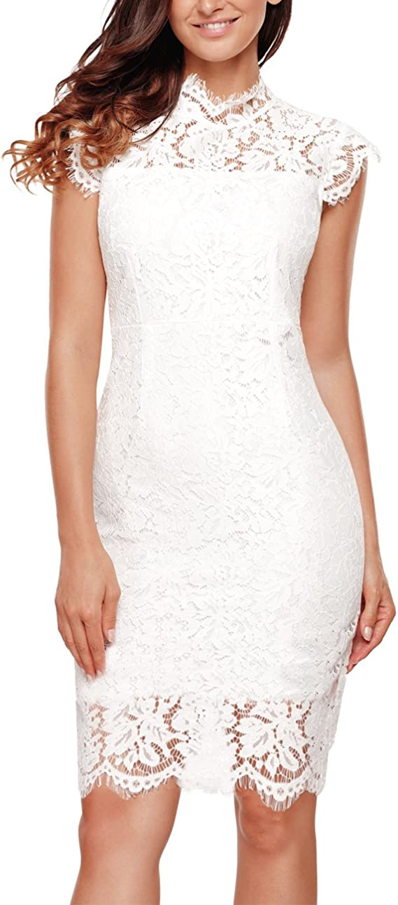 Women's Lace Floral Elegant Cocktail Dress Knee Length for Party
