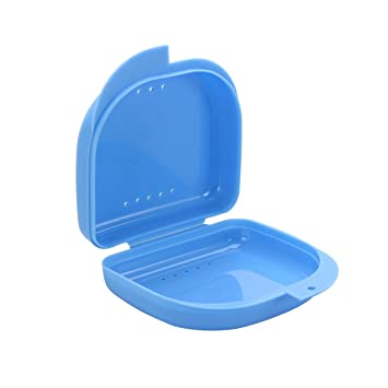 Caja para Ortodoncia Protesis Dentales Dentadura Postiza ROSENICE 3 Unidades Estuche para Retenedores Dentales Azul