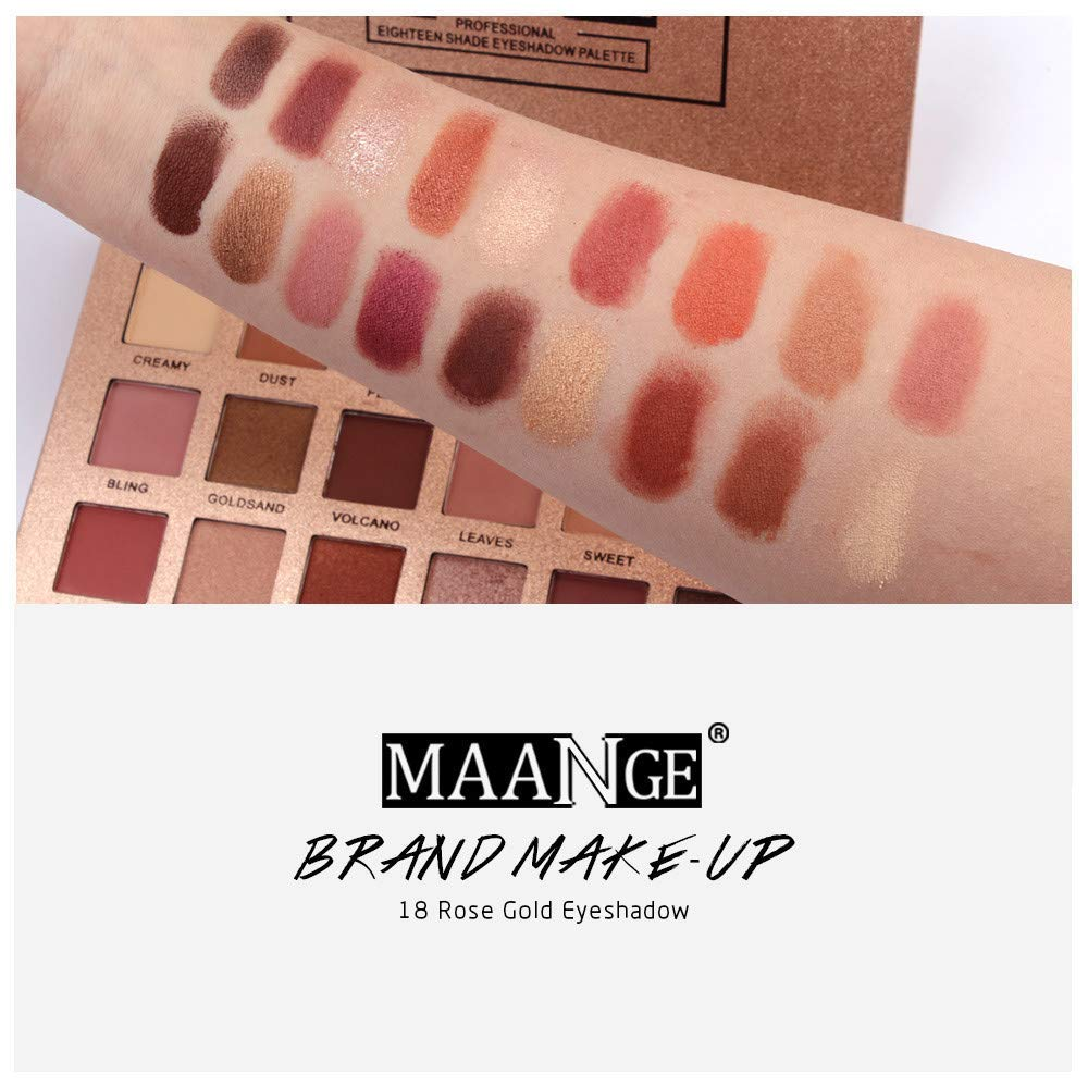 18 Colors Eyeshadow Palette Matte Shimmer High Pigmented Natural Nude Cosmetic Professional Eye Shadows Gold