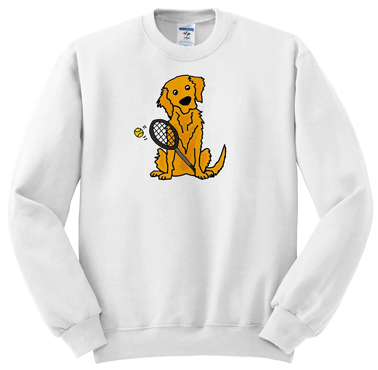 3dRose All Smiles Art - Pets - Cute Funny Golden Retriever Puppy Dog Playing Tennis - Sweatshirts ss_292512