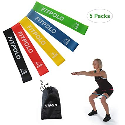 Fitpolo Resistance Loop Exercise Bands, 12 Inch Natural Latex Fitness Flexbands with Carry Bag for