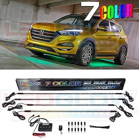 LEDGlow 7 Color SMD LED Slimline Underbody Underglow Car Light Kit