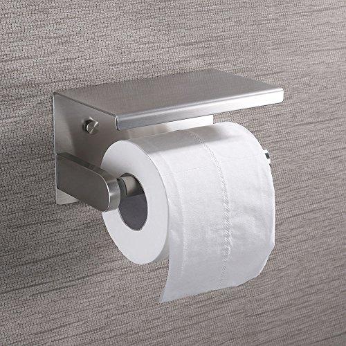 (KES Toilet Paper Holder RUSTPROOF Stainless Steel Bathroom Tissue Paper Towel Roll Holder Hanger Wall Mount Brushed Finish, BPH214S1-2)