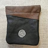 Handmade Saami Reindeer Leather Pewter Coin Purse Spiral Design